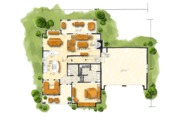 Country Style House Plan - 5 Beds 3.5 Baths 2687 Sq/Ft Plan #942-47 Floor Plan - Main Floor Plan
