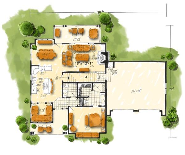 Country Floor Plan - Main Floor Plan #942-47