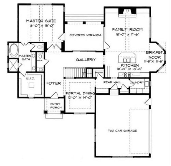 European Floor Plan - Main Floor Plan Plan #413-103