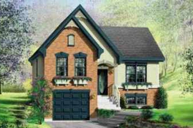 European Style House Plan - 3 Beds 1 Baths 1040 Sq/Ft Plan #25-394 Exterior - Front Elevation