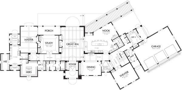 Mediterranean Floor Plan - Main Floor Plan Plan #48-361