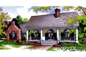 European Exterior - Front Elevation Plan #45-114