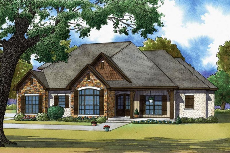 Craftsman Style House Plan - 3 Beds 3.5 Baths 2199 Sq/Ft Plan #923-65 Exterior - Front Elevation