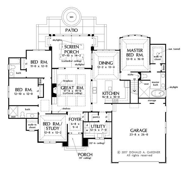 European Floor Plan - Main Floor Plan Plan #929-1028