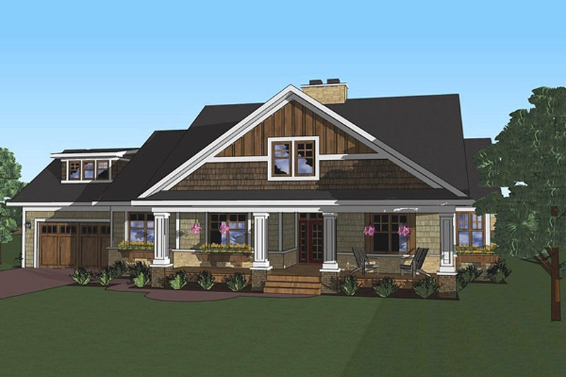 Craftsman Style House Plan - 3 Beds 2 Baths 1999 Sq/Ft Plan #51-513 Exterior - Front Elevation