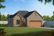 European Style House Plan - 2 Beds 2 Baths 1136 Sq/Ft Plan #20-2081 Exterior - Front Elevation