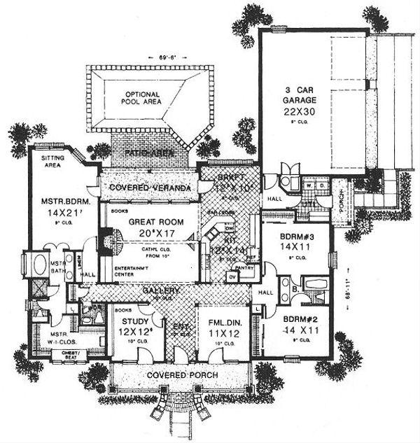Southern Floor Plan - Main Floor Plan Plan #310-616