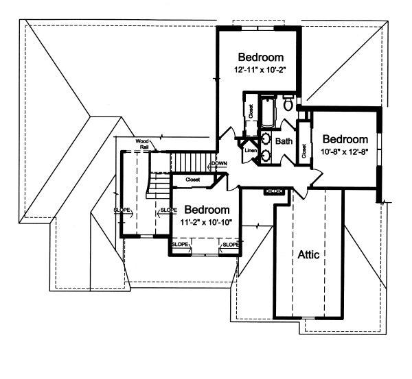 Traditional Floor Plan - Upper Floor Plan Plan #46-879