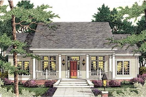 Southern Exterior - Front Elevation Plan #406-284