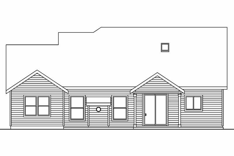 Craftsman Exterior - Rear Elevation Plan #124-564 - Houseplans.com