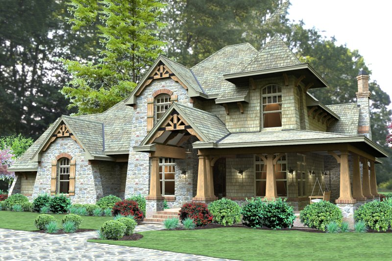 Craftsman Style House Plan - 3 Beds 3 Baths 2487 Sq/Ft Plan #120-179 Exterior - Front Elevation