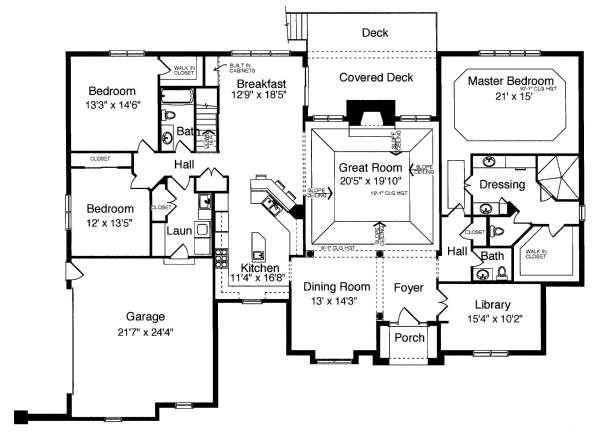 Ranch Floor Plan - Main Floor Plan Plan #46-404