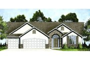 Mediterranean Style House Plan - 3 Beds 2 Baths 1651 Sq/Ft Plan #58-214 Exterior - Front Elevation