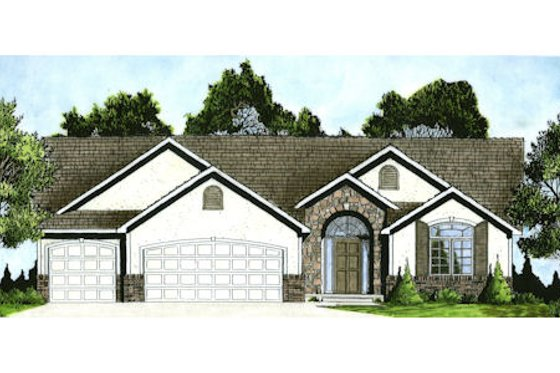 Mediterranean Exterior - Front Elevation Plan #58-214