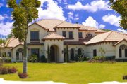 Mediterranean Style House Plan - 7 Beds 7 Baths 7351 Sq/Ft Plan #135-191 Exterior - Front Elevation