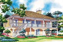 Colonial Exterior - Rear Elevation Plan #930-30