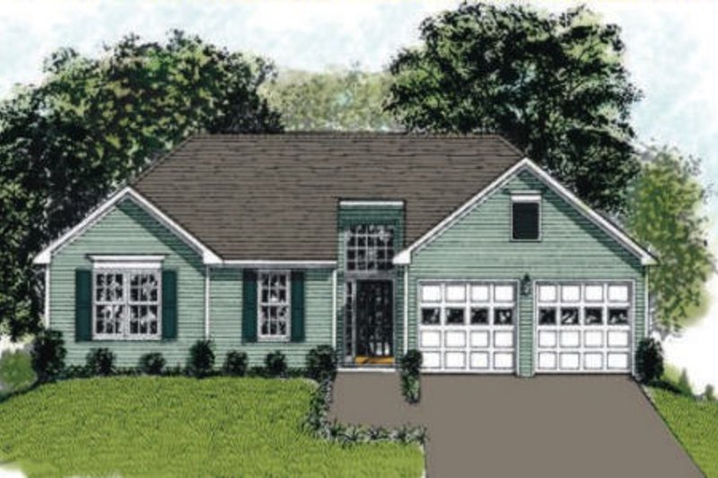 Traditional Style House Plan - 3 Beds 2 Baths 1093 Sq/Ft Plan #56-105 Exterior - Front Elevation