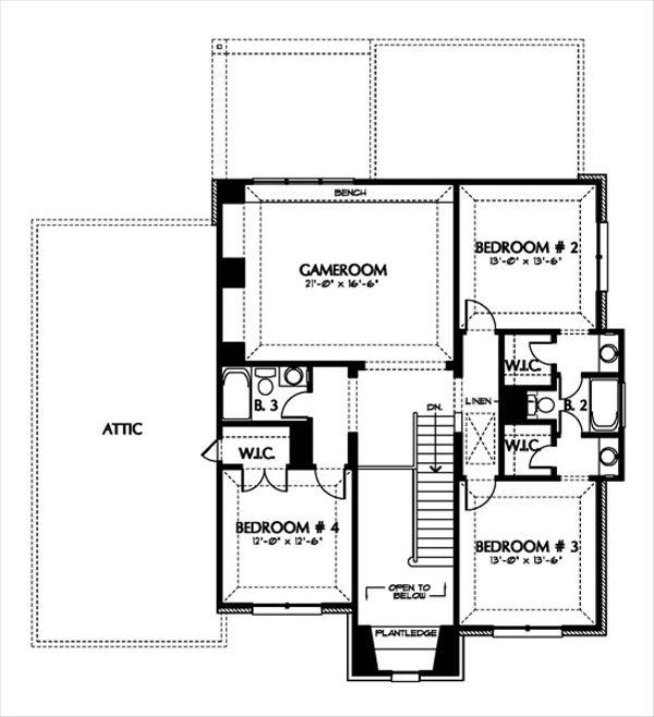 European Floor Plan - Upper Floor Plan Plan #449-5