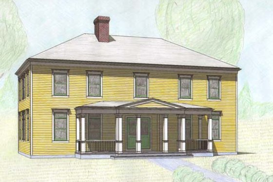 Classical Exterior - Front Elevation Plan #477-7