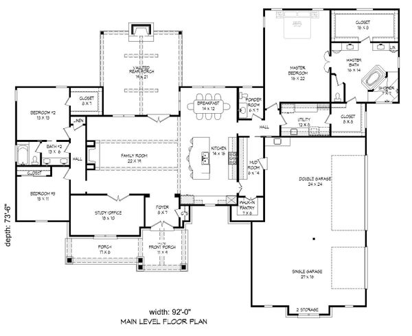 Traditional Floor Plan - Main Floor Plan Plan #932-104