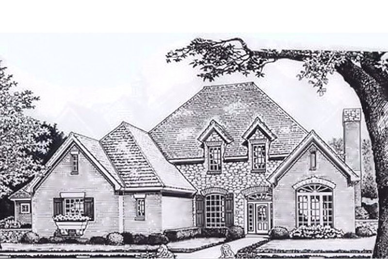 European Style House Plan - 4 Beds 3.5 Baths 3041 Sq/Ft Plan #310-391 Exterior - Front Elevation