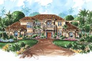 Mediterranean Style House Plan - 4 Beds 6.5 Baths 5223 Sq/Ft Plan #27-224 Exterior - Front Elevation