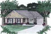 Ranch Style House Plan - 3 Beds 2 Baths 1303 Sq/Ft Plan #129-140 Exterior - Front Elevation