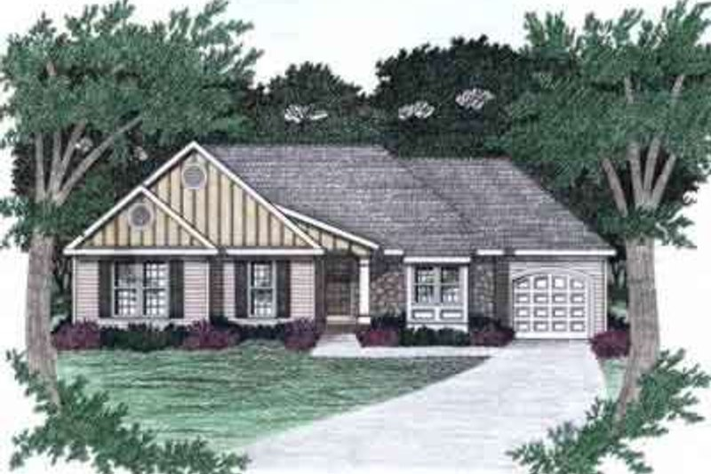 Ranch Style House Plan - 3 Beds 2 Baths 1303 Sq/Ft Plan #129-140