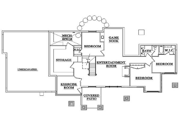 Craftsman Floor Plan - Lower Floor Plan Plan #5-371