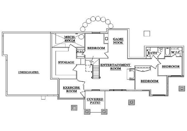 Craftsman Floor Plan - Lower Floor Plan #5-371