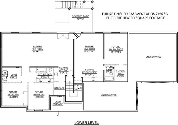 House Plan Design - Farmhouse Floor Plan - Lower Floor Plan #1073-17
