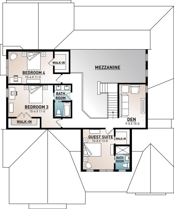 Architectural House Design - Farmhouse Floor Plan - Upper Floor Plan #23-2690