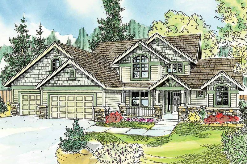 Craftsman Exterior - Front Elevation Plan #124-759