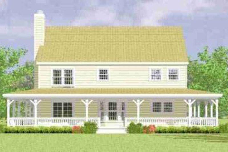 Country Exterior - Rear Elevation Plan #72-341 - Houseplans.com