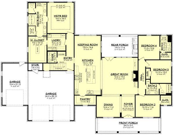 Farmhouse Floor Plan - Main Floor Plan Plan #430-205