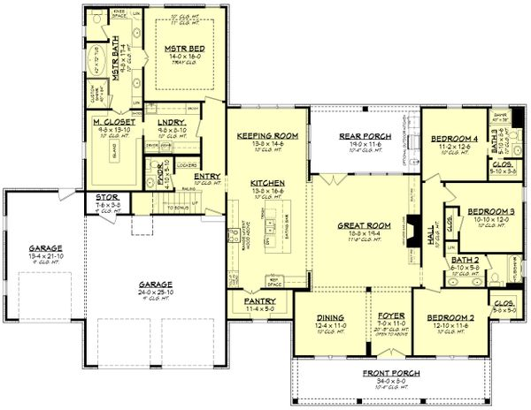 Dream House Plan - Farmhouse Floor Plan - Main Floor Plan #430-205