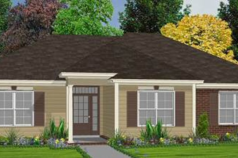 Traditional Style House Plan - 3 Beds 2 Baths 1470 Sq/Ft Plan #63-147 Exterior - Front Elevation