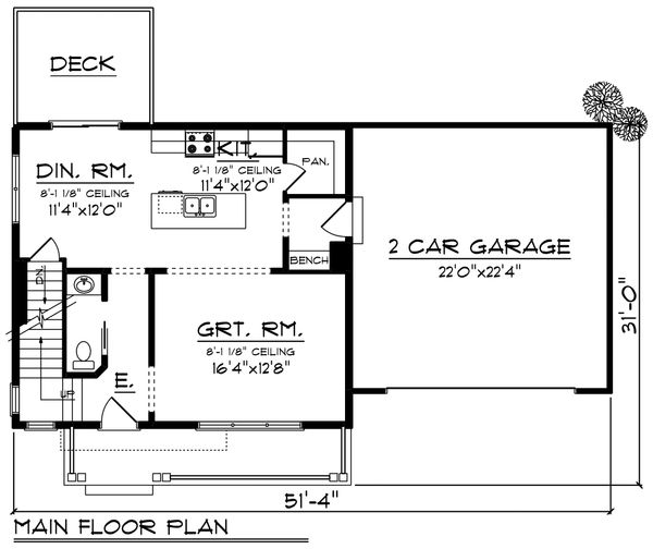 Farmhouse Floor Plan - Main Floor Plan Plan #70-1453