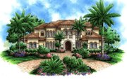 Mediterranean Style House Plan - 5 Beds 6 Baths 6718 Sq/Ft Plan #27-393 Exterior - Front Elevation