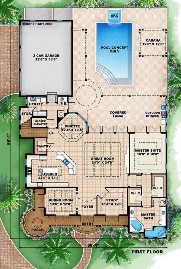 Beach Floor Plan - Main Floor Plan Plan #27-525