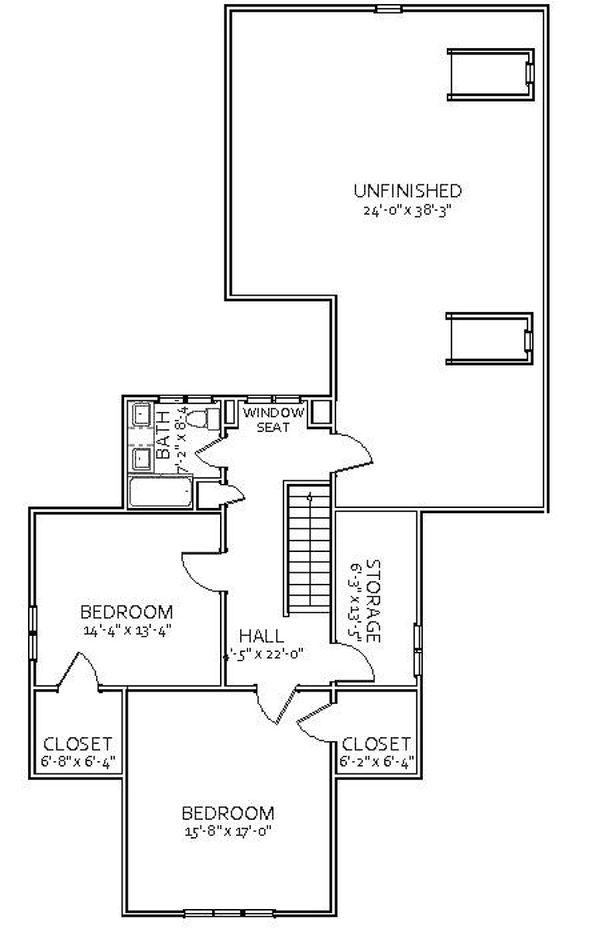 Craftsman Floor Plan - Upper Floor Plan Plan #898-5