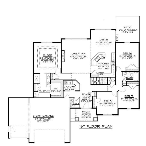 Ranch Floor Plan - Main Floor Plan #1064-82