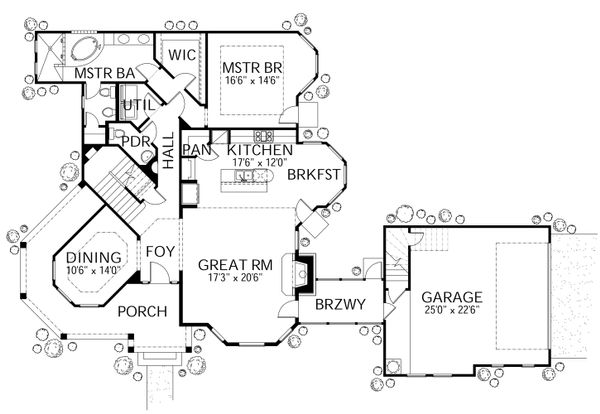 Traditional Floor Plan - Main Floor Plan #80-148