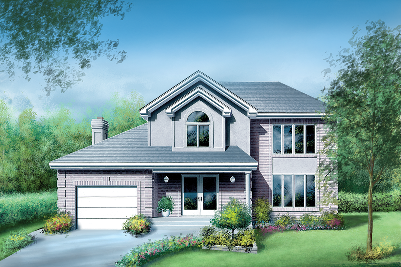 Traditional Style House Plan - 3 Beds 2.5 Baths 2244 Sq/Ft Plan #25-2199 Exterior - Front Elevation