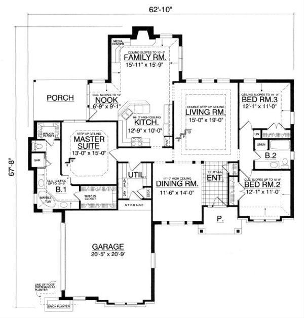 Tudor Floor Plan - Main Floor Plan Plan #40-384