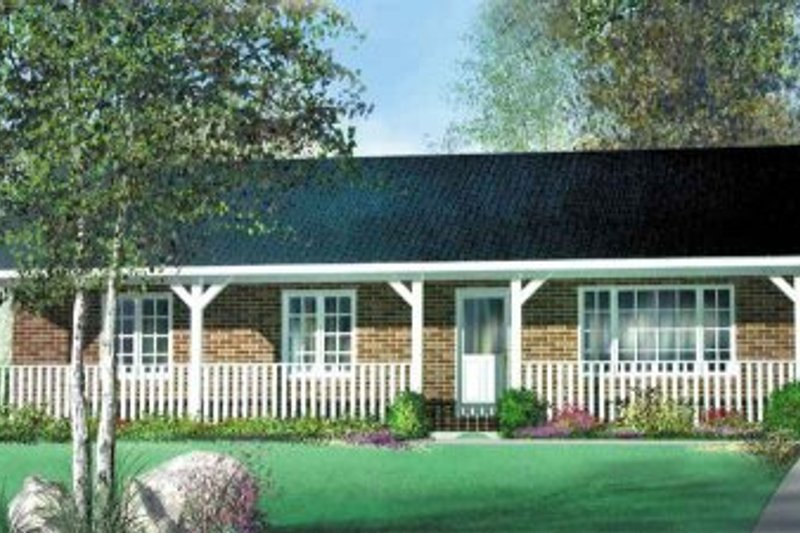 Ranch Style House Plan - 3 Beds 1 Baths 1029 Sq/Ft Plan #25-4129 Exterior - Front Elevation