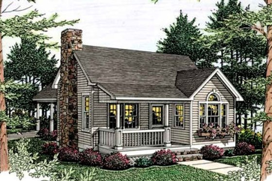 Cottage Exterior - Front Elevation Plan #406-215
