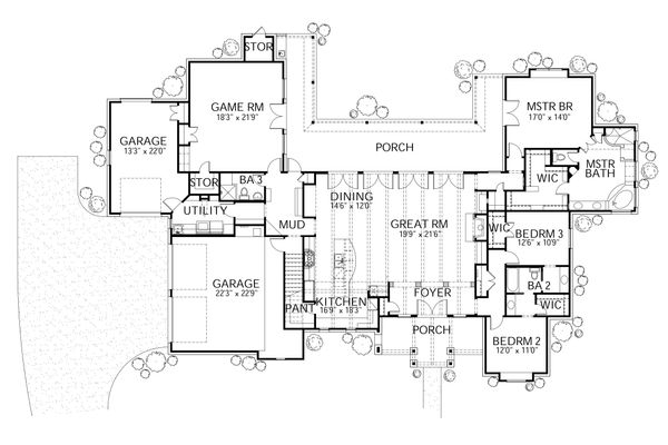 Country Floor Plan - Main Floor Plan Plan #80-196
