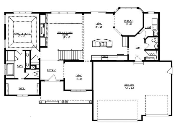 Cottage Floor Plan - Main Floor Plan Plan #320-492