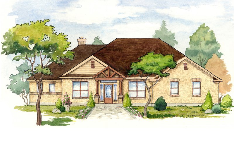 Home Plan - Mediterranean Exterior - Front Elevation Plan #80-158